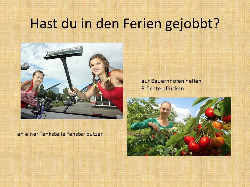 Hast du in den Ferien gejobbt? an einer Tankstelle Fenster putzen auf Bauernhöfen helfen Früchte pflücken