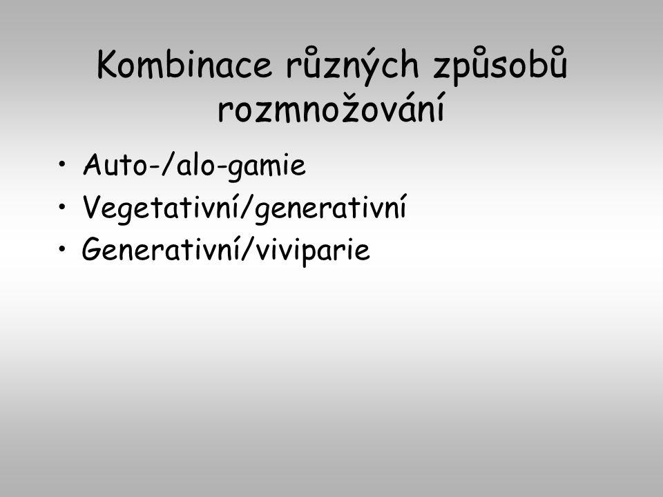 Kombinace různých způsobů rozmnožování Auto-/alo-gamie Vegetativní/generativní Generativní/viviparie