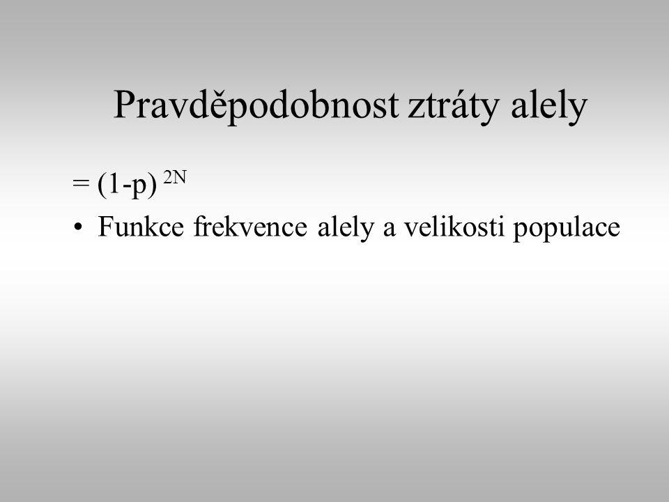 Pravděpodobnost ztráty alely = (1-p) 2N Funkce frekvence alely a velikosti populace