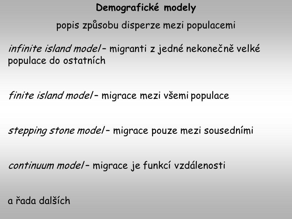 Demografické modely popis způsobu disperze mezi populacemi infinite island model – migranti z jedné nekonečně velké populace do ostatních finite island model – migrace mezi všemi populace stepping stone model – migrace pouze mezi sousedními continuum model – migrace je funkcí vzdálenosti a řada dalších