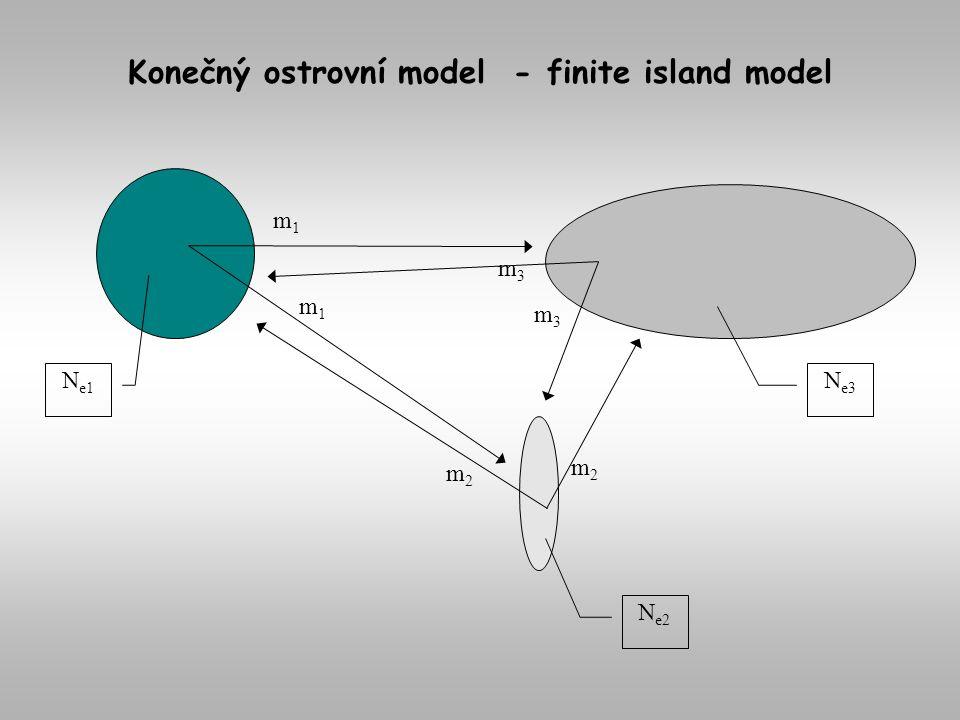 N e1 N e2 N e3 m1m1 m1m1 m2m2 m2m2 m3m3 m3m3 Konečný ostrovní model - finite island model