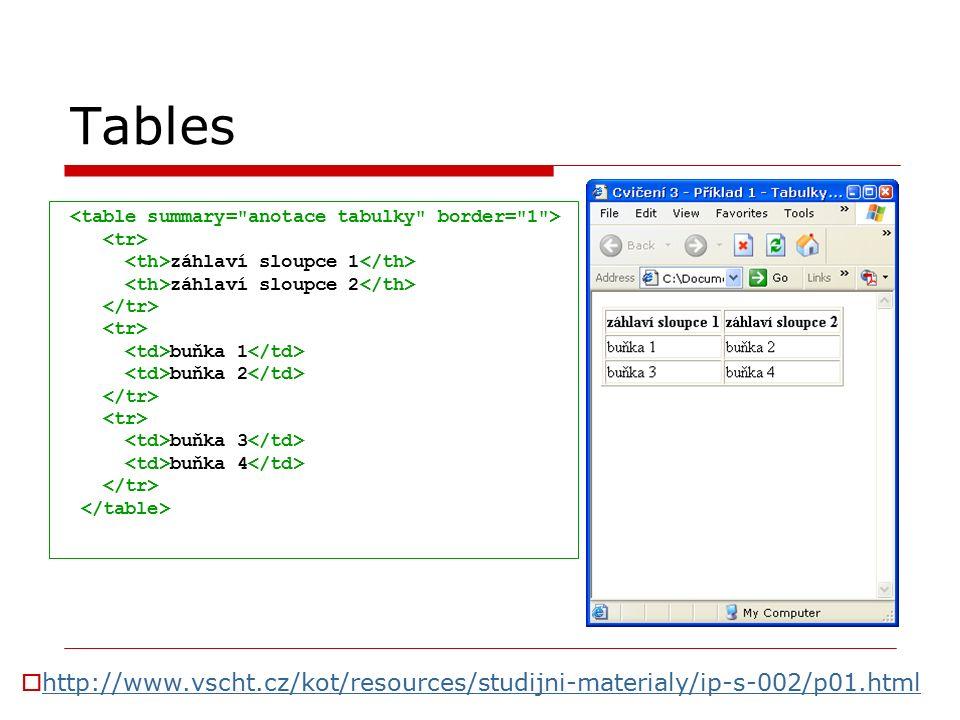 Tables záhlaví sloupce 1 záhlaví sloupce 2 buňka 1 buňka 2 buňka 3 buňka 4  http://www.vscht.cz/kot/resources/studijni-materialy/ip-s-002/p01.html http://www.vscht.cz/kot/resources/studijni-materialy/ip-s-002/p01.html