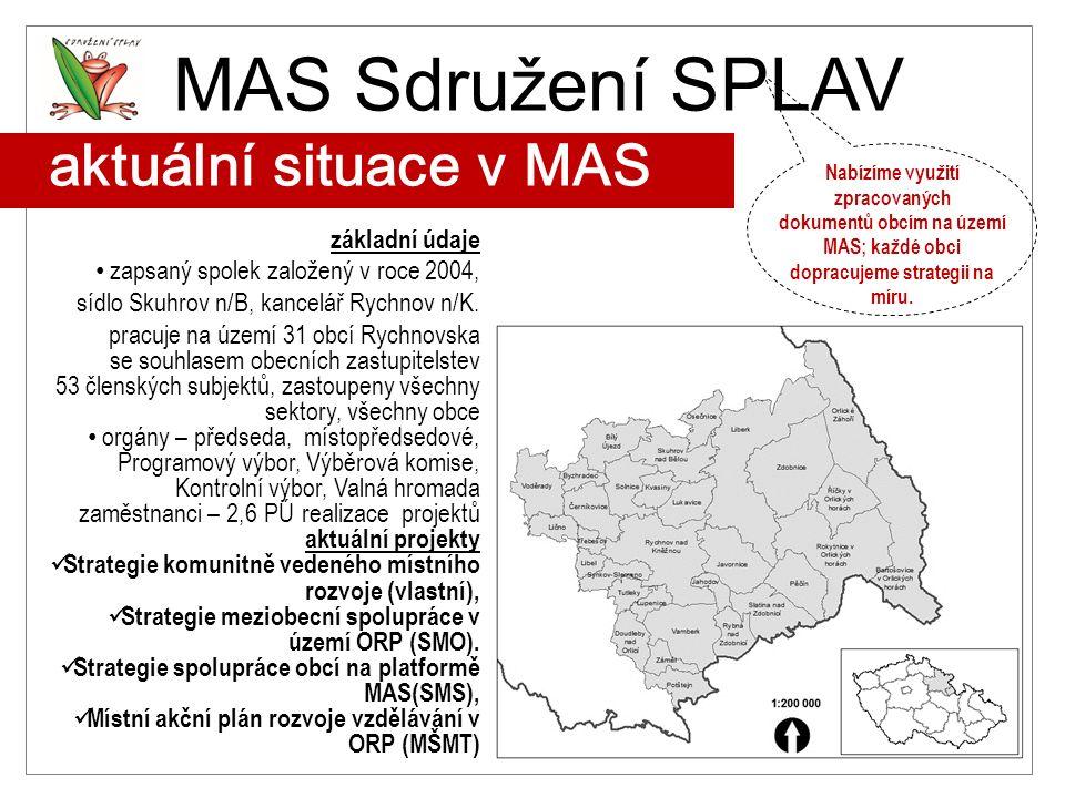 aktuální situace v MAS základní údaje zapsaný spolek založený v roce 2004, sídlo Skuhrov n/B, kancelář Rychnov n/K. pracuje na území 31 obcí Rychnovsk