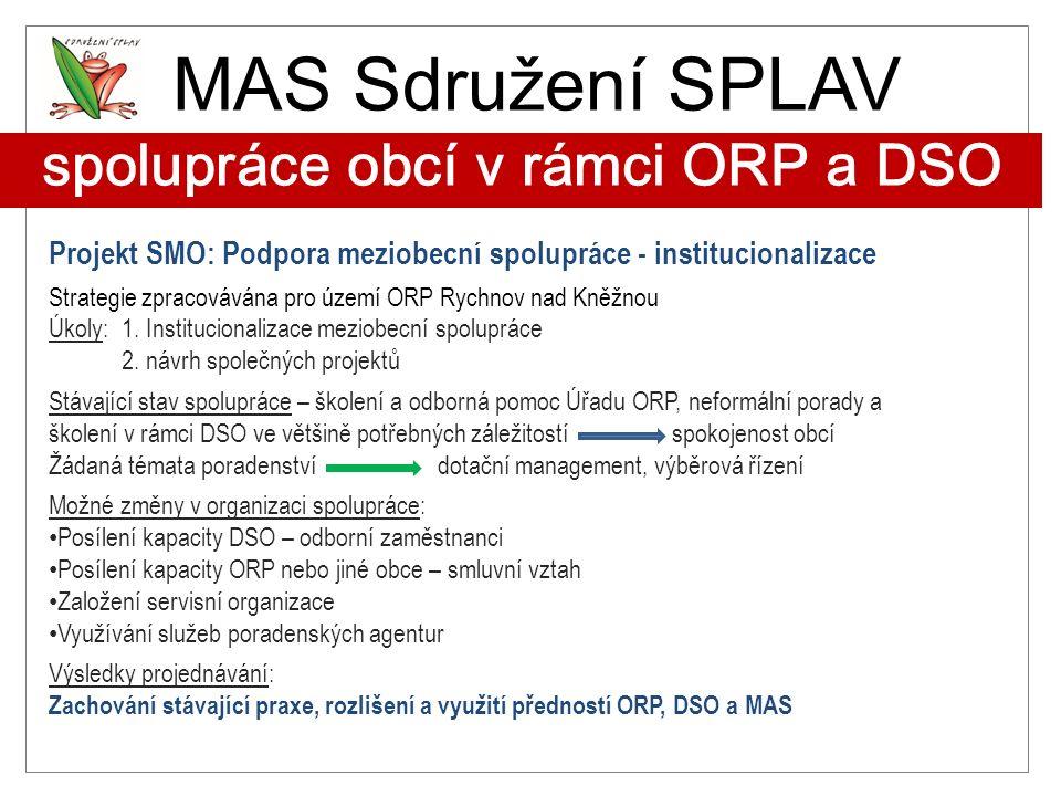 MAS Sdružení SPLAV spolupráce obcí v rámci ORP a DSO Projekt SMO: Podpora meziobecní spolupráce - institucionalizace Strategie zpracovávána pro území