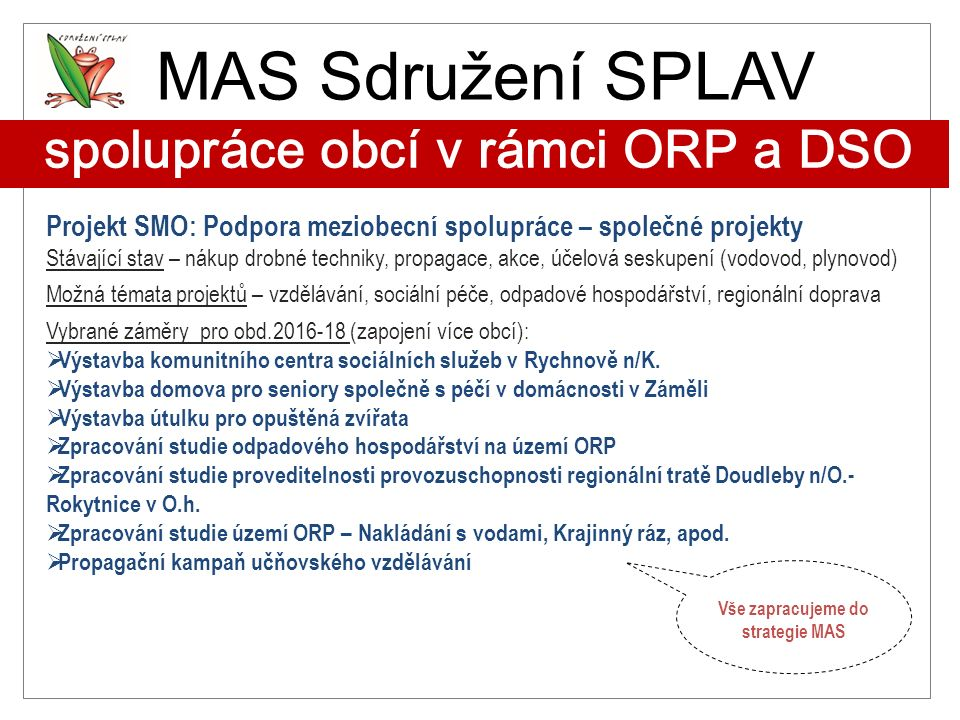 MAS Sdružení SPLAV spolupráce obcí v rámci ORP a DSO Projekt SMO: Podpora meziobecní spolupráce – společné projekty Stávající stav – nákup drobné tech