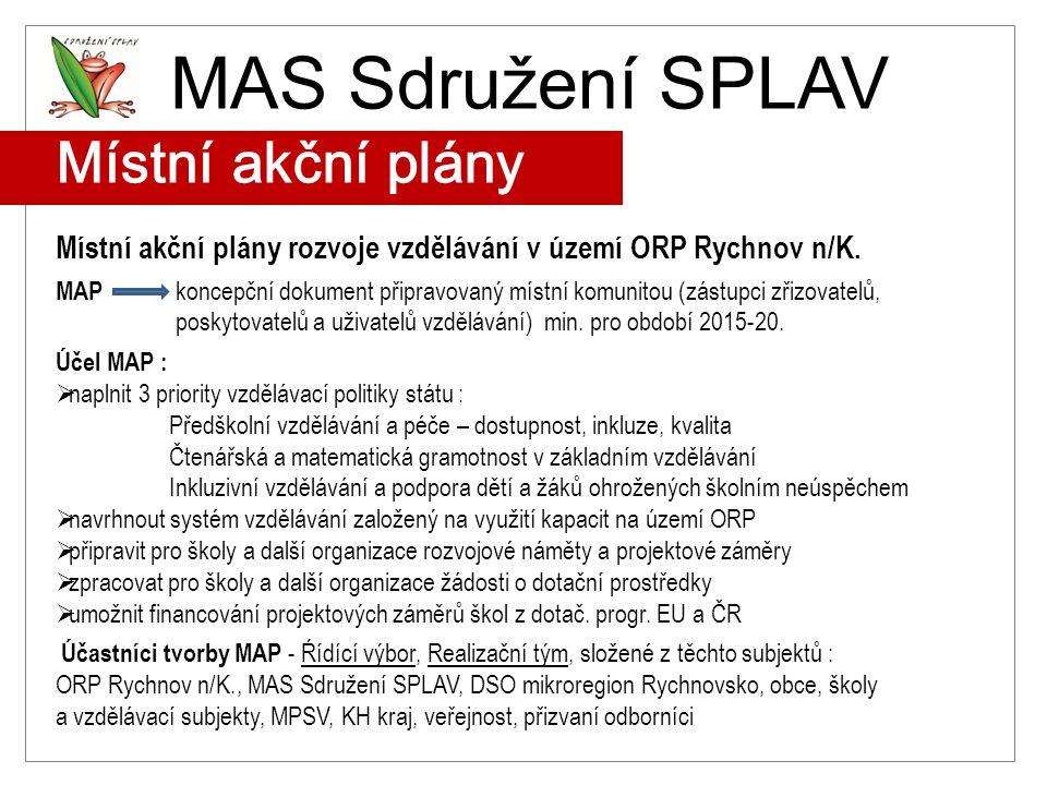 MAS Sdružení SPLAV Místní akční plány Místní akční plány rozvoje vzdělávání v území ORP Rychnov n/K. MAP koncepční dokument připravovaný místní komuni