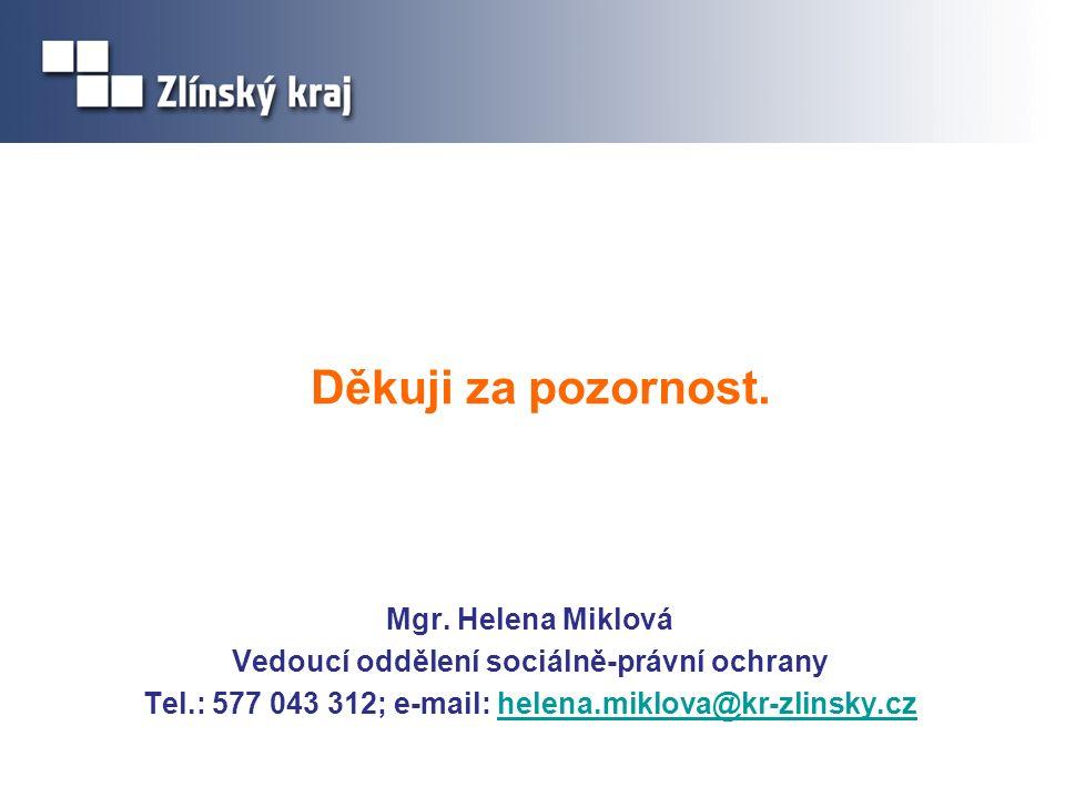 Děkuji za pozornost. Mgr. Helena Miklová Vedoucí oddělení sociálně-právní ochrany Tel.: 577 043 312; e-mail: helena.miklova@kr-zlinsky.czhelena.miklov
