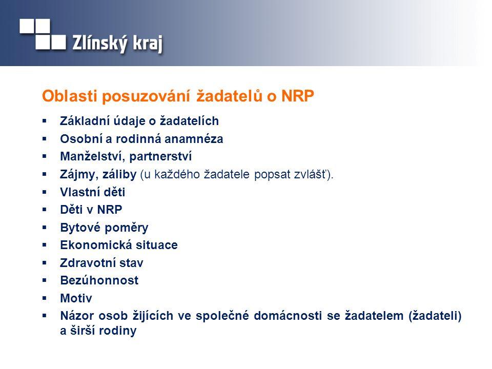 Oblasti posuzování žadatelů o NRP  Základní údaje o žadatelích  Osobní a rodinná anamnéza  Manželství, partnerství  Zájmy, záliby (u každého žadatele popsat zvlášť).