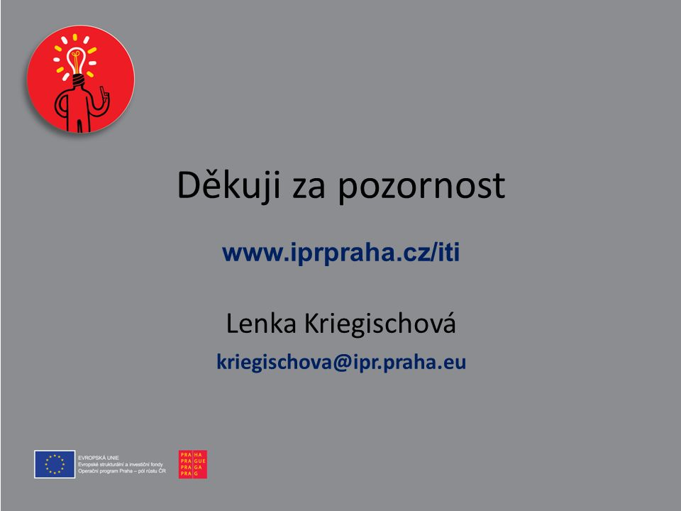 Děkuji za pozornost www.iprpraha.cz/iti Lenka Kriegischová kriegischova@ipr.praha.eu