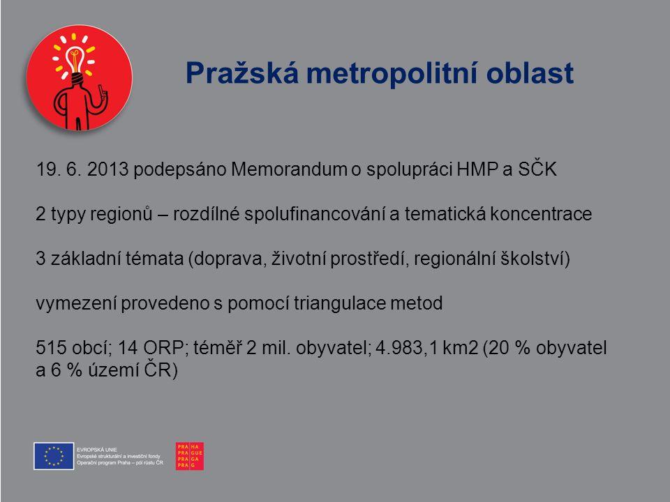 Pražská metropolitní oblast 19. 6. 2013 podepsáno Memorandum o spolupráci HMP a SČK 2 typy regionů – rozdílné spolufinancování a tematická koncentrace