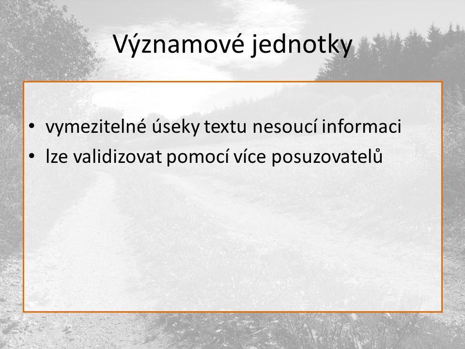 Významové jednotky vymezitelné úseky textu nesoucí informaci lze validizovat pomocí více posuzovatelů