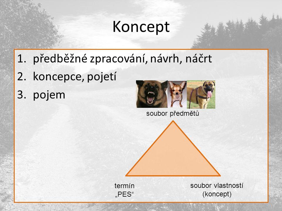 """Koncept 1.předběžné zpracování, návrh, náčrt 2.koncepce, pojetí 3.pojem soubor předmětů termín """"PES soubor vlastností (koncept)"""