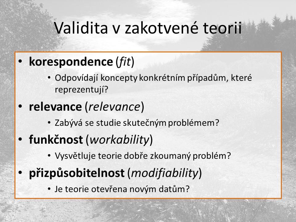 Validita v zakotvené teorii korespondence (fit) Odpovídají koncepty konkrétním případům, které reprezentují.