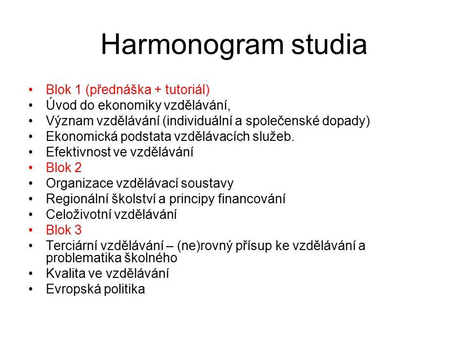 Harmonogram studia Blok 1 (přednáška + tutoriál) Úvod do ekonomiky vzdělávání, Význam vzdělávání (individuální a společenské dopady) Ekonomická podsta