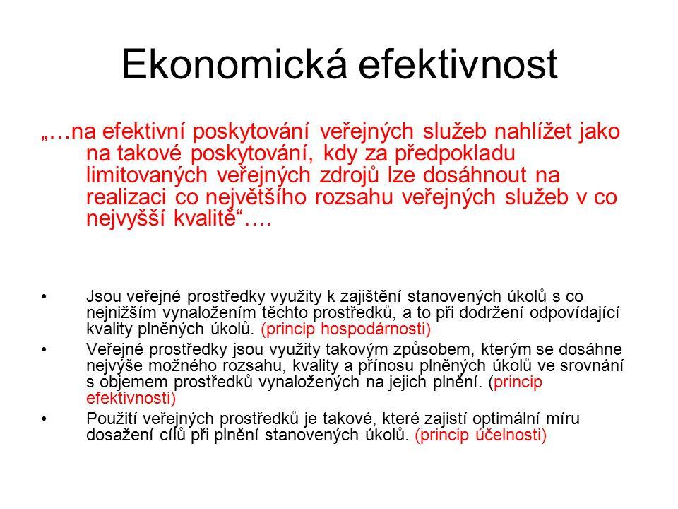 """Ekonomická efektivnost """"…na efektivní poskytování veřejných služeb nahlížet jako na takové poskytování, kdy za předpokladu limitovaných veřejných zdro"""