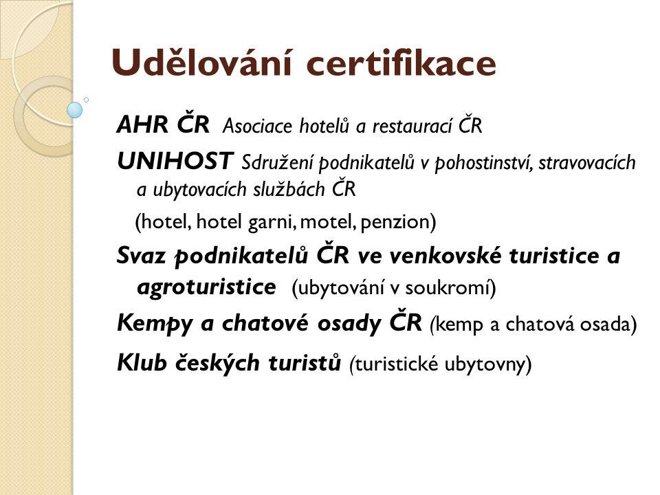 Udělování certifikace AHR ČR Asociace hotelů a restaurací ČR UNIHOST Sdružení podnikatelů v pohostinství, stravovacích a ubytovacích službách ČR (hote