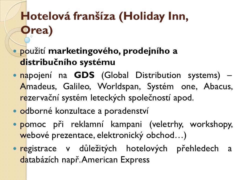 Hotelová franšíza (Holiday Inn, Orea) použití marketingového, prodejního a distribučního systému napojení na GDS (Global Distribution systems) – Amade