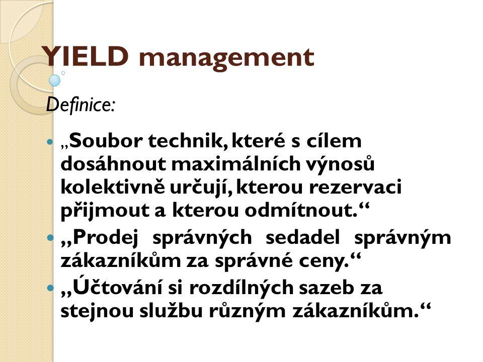"""YIELD management Definice: """" Soubor technik, které s cílem dosáhnout maximálních výnosů kolektivně určují, kterou rezervaci přijmout a kterou odmítnou"""