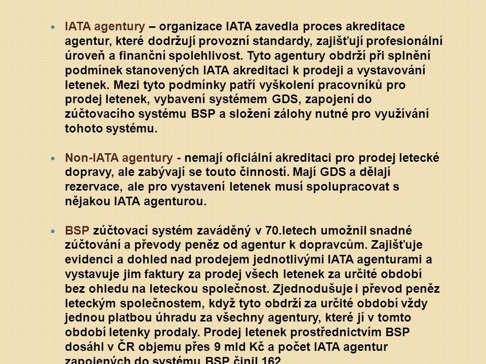IATA agentury – organizace IATA zavedla proces akreditace agentur, které dodržují provozní standardy, zajišťují profesionální úroveň a finanční spoleh