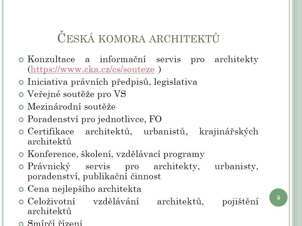 Č ESKÁ KOMORA ARCHITEKTŮ Konzultace a informační servis pro architekty (https://www.cka.cz/cs/souteze )https://www.cka.cz/cs/souteze Iniciativa právní