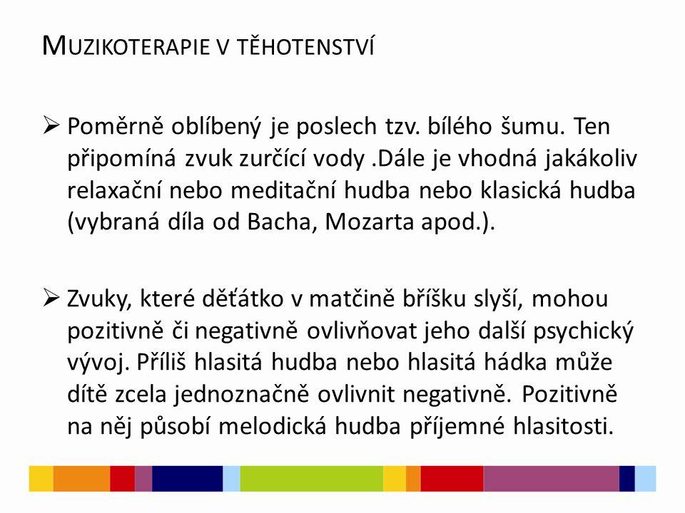 M UZIKOTERAPIE V TĚHOTENSTVÍ  Poměrně oblíbený je poslech tzv.