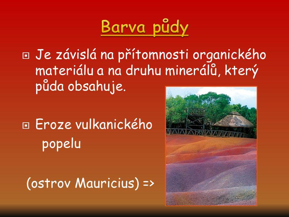  Je závislá na přítomnosti organického materiálu a na druhu minerálů, který půda obsahuje.