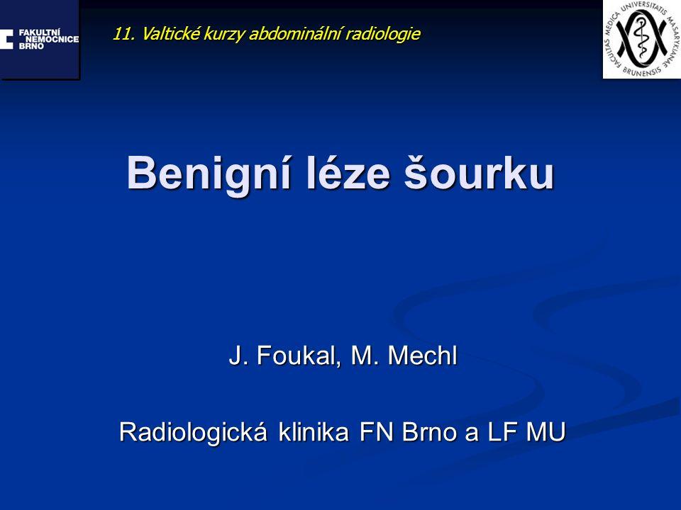 Benigní léze šourku J. Foukal, M. Mechl Radiologická klinika FN Brno a LF MU 11. Valtické kurzy abdominální radiologie