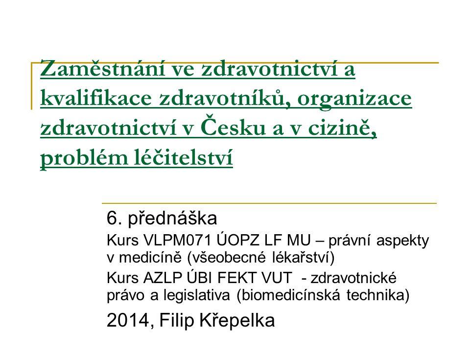 Zaměstnání ve zdravotnictví a kvalifikace zdravotníků, organizace zdravotnictví v Česku a v cizině, problém léčitelství 6. přednáška Kurs VLPM071 ÚOPZ