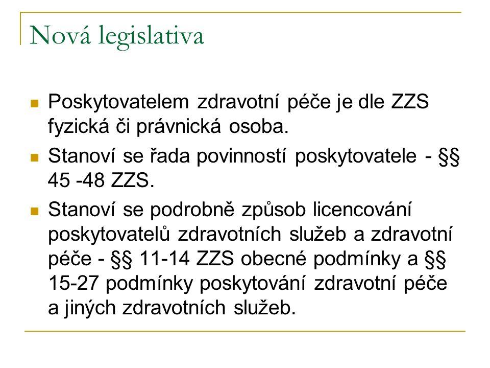 Nová legislativa Poskytovatelem zdravotní péče je dle ZZS fyzická či právnická osoba. Stanoví se řada povinností poskytovatele - §§ 45 -48 ZZS. Stanov