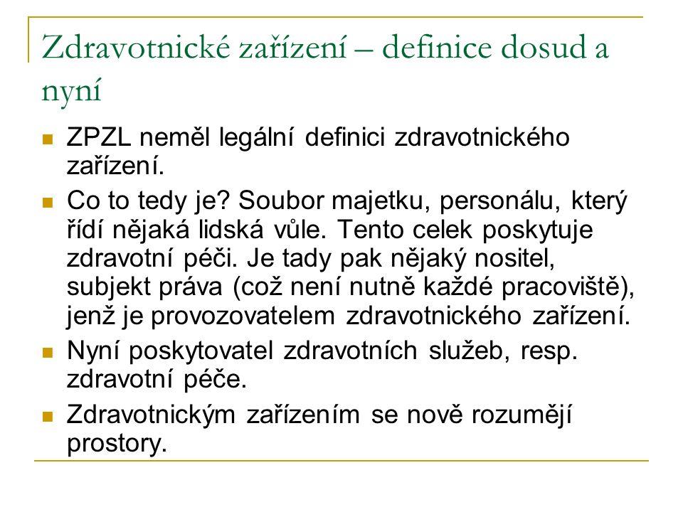 Zdravotnické zařízení – definice dosud a nyní ZPZL neměl legální definici zdravotnického zařízení. Co to tedy je? Soubor majetku, personálu, který říd