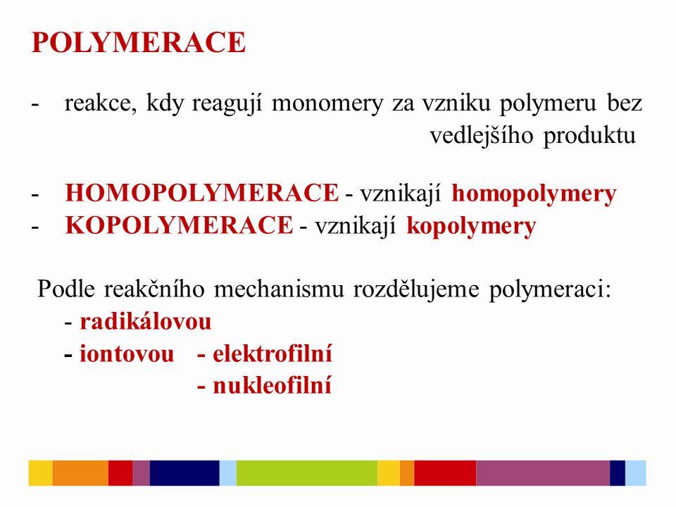 POLYMERACE -reakce, kdy reagují monomery za vzniku polymeru bez vedlejšího produktu -HOMOPOLYMERACE - vznikají homopolymery -KOPOLYMERACE - vznikají k