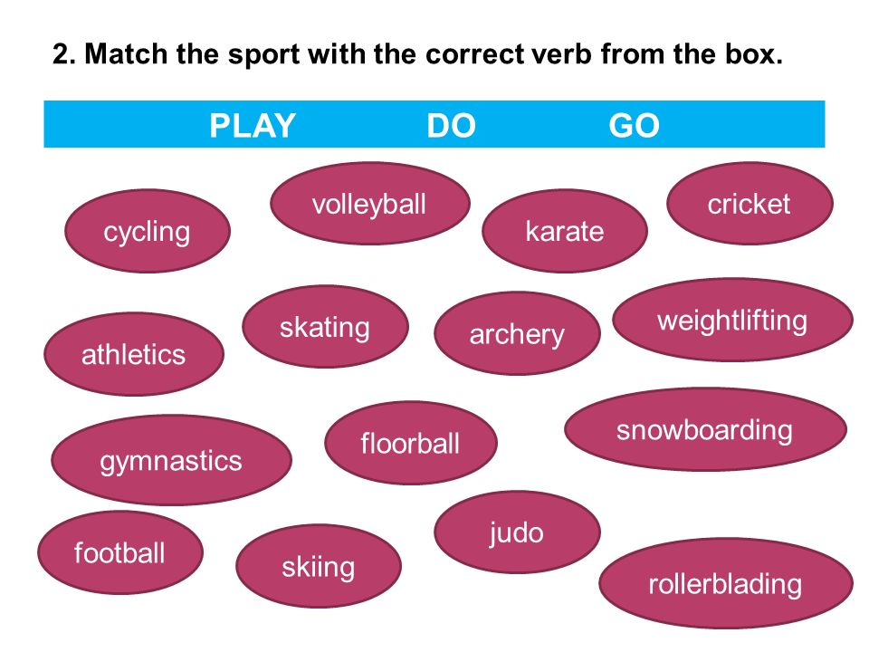 2. Match the sport with the correct verb from the box.