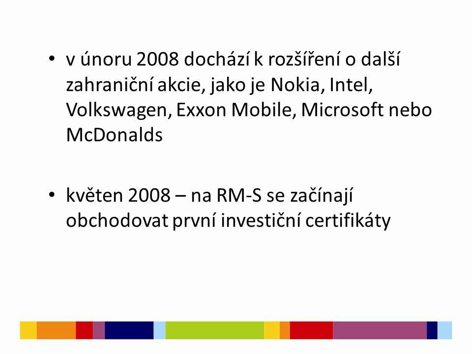 v únoru 2008 dochází k rozšíření o další zahraniční akcie, jako je Nokia, Intel, Volkswagen, Exxon Mobile, Microsoft nebo McDonalds květen 2008 – na RM-S se začínají obchodovat první investiční certifikáty