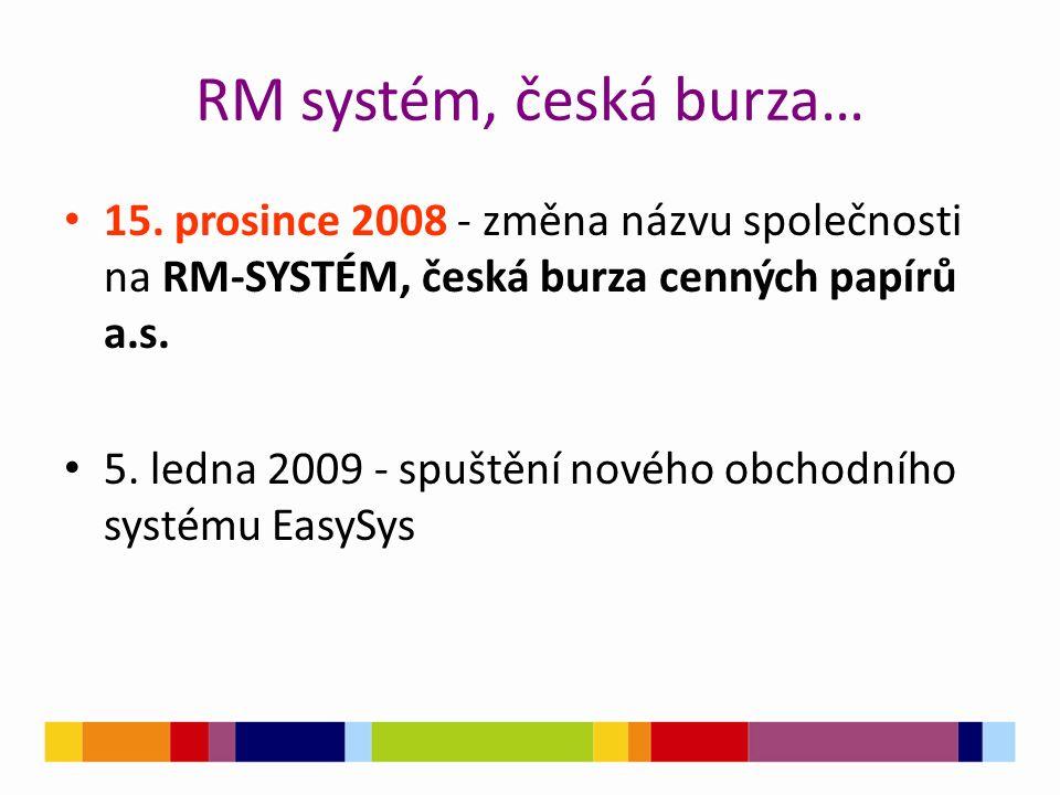 RM systém, česká burza… 15. prosince 2008 - změna názvu společnosti na RM-SYSTÉM, česká burza cenných papírů a.s. 5. ledna 2009 - spuštění nového obch
