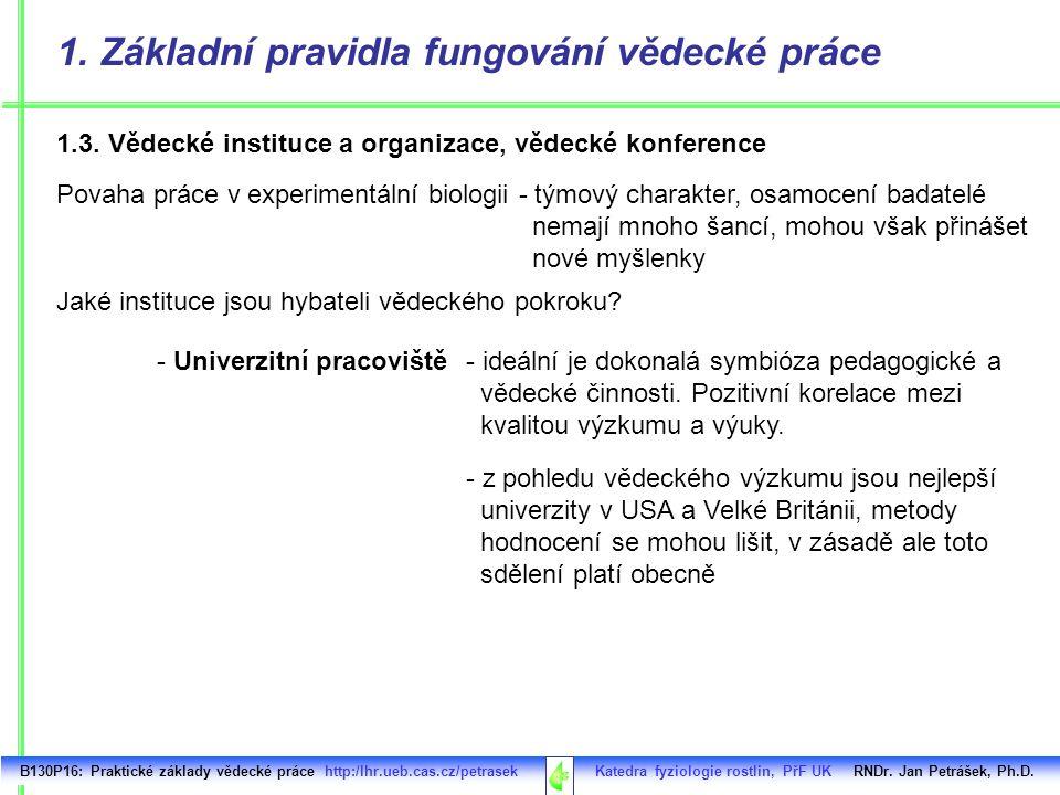 1. Základní pravidla fungování vědecké práce B130P16: Praktické základy vědecké práce http:/lhr.ueb.cas.cz/petrasek Katedra fyziologie rostlin, PřF UK