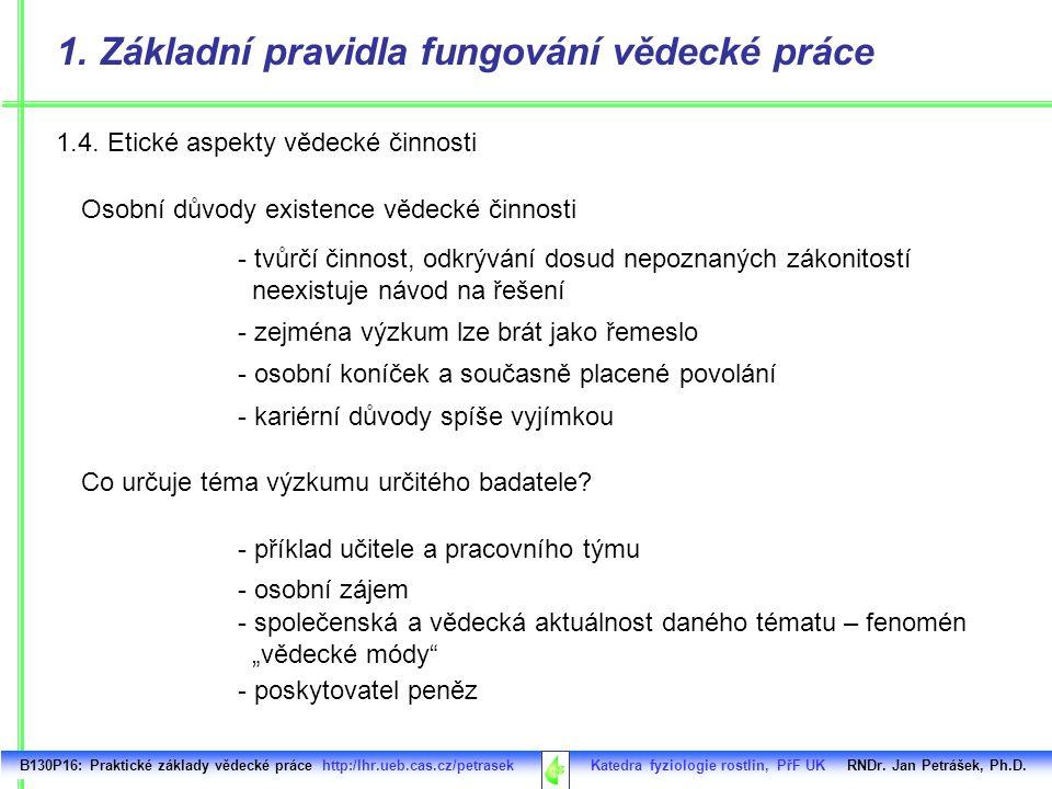 1.4. Etické aspekty vědecké činnosti B130P16: Praktické základy vědecké práce http:/lhr.ueb.cas.cz/petrasek Katedra fyziologie rostlin, PřF UK RNDr. J