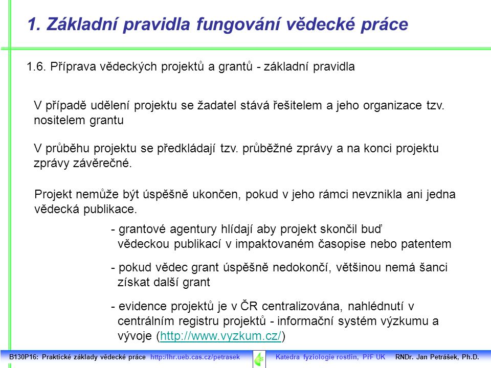 1.6. Příprava vědeckých projektů a grantů - základní pravidla B130P16: Praktické základy vědecké práce http:/lhr.ueb.cas.cz/petrasek Katedra fyziologi