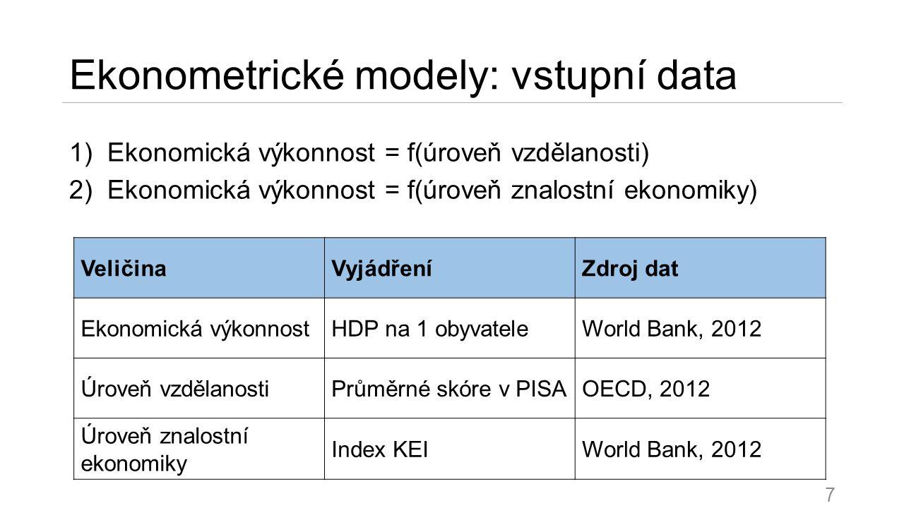 Ekonometrické modely a jejich porovnání 1)Ekonomická výkonnost a vzdělanost 2)Ekonomická výkonnost a znalostní ekonomika 8