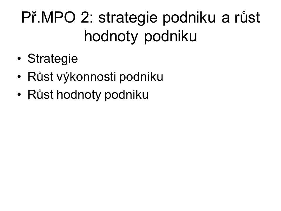 Př.MPO 2: strategie podniku a růst hodnoty podniku Strategie Růst výkonnosti podniku Růst hodnoty podniku