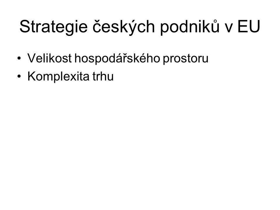 Strategie českých podniků v EU Velikost hospodářského prostoru Komplexita trhu