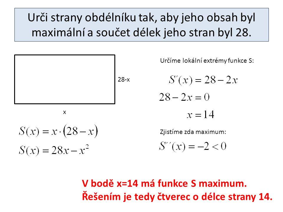 Urči strany obdélníku tak, aby jeho obsah byl maximální a součet délek jeho stran byl 28.