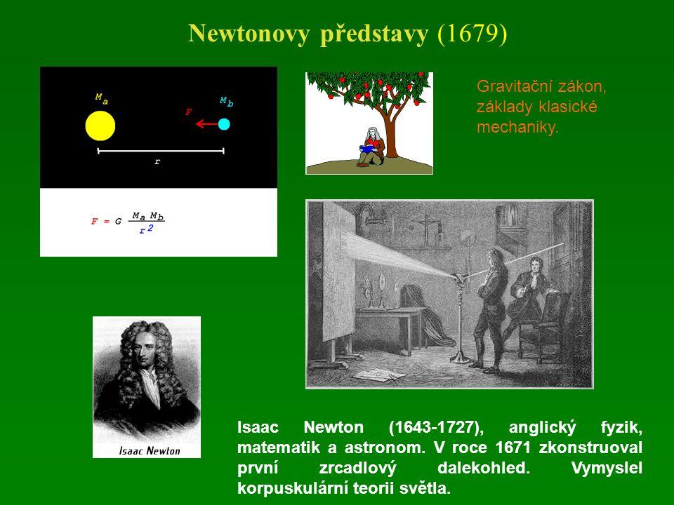 Newtonovy představy (1679) Isaac Newton (1643-1727), anglický fyzik, matematik a astronom.