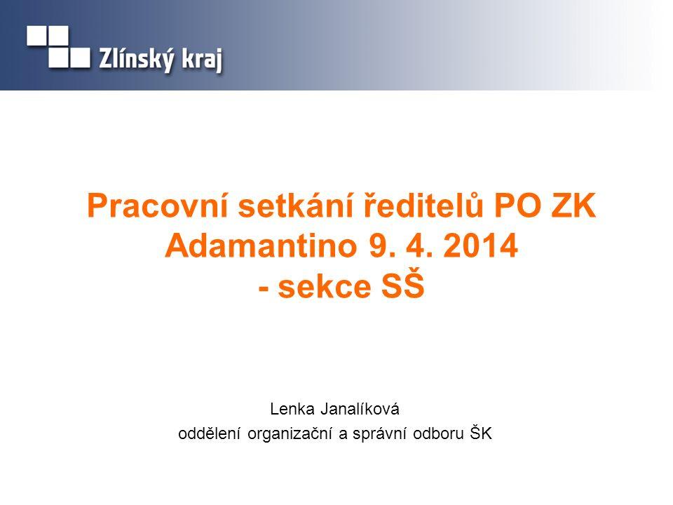 Pracovní setkání ředitelů PO ZK Adamantino 9. 4. 2014 - sekce SŠ Lenka Janalíková oddělení organizační a správní odboru ŠK