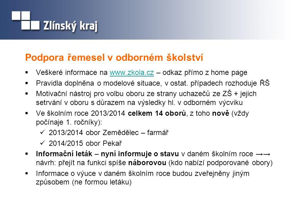 Podpora řemesel v odborném školství  Veškeré informace na www.zkola.cz – odkaz přímo z home pagewww.zkola.cz  Pravidla doplněna o modelové situace,