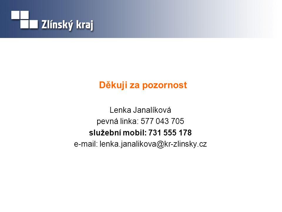 Děkuji za pozornost Lenka Janalíková pevná linka: 577 043 705 služební mobil: 731 555 178 e-mail: lenka.janalikova@kr-zlinsky.cz