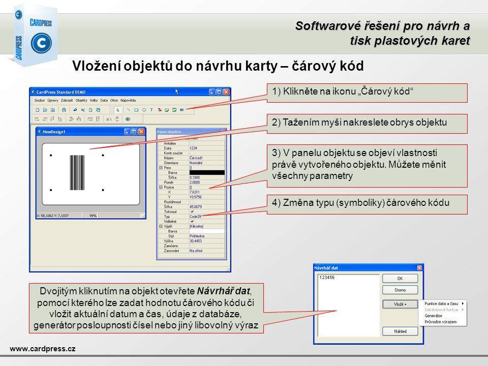 """Softwarové řešení pro návrh a tisk plastových karet www.cardpress.cz Vložení objektů do návrhu karty – čárový kód 1) Klikněte na ikonu """"Čárový kód"""" 2)"""