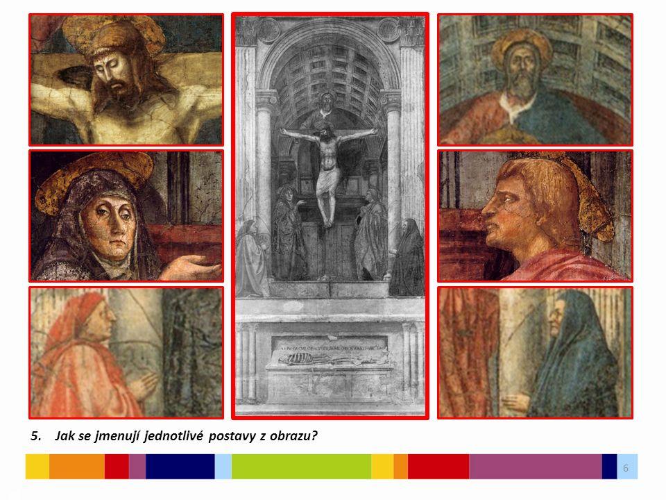 """7 03 Masacciova freska vytváří """"dvojí kapli Golgoty – tradiční středověké téma."""