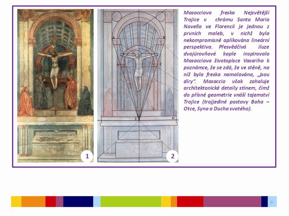 9 03 Masacciova freska Nejsvětější Trojice v chrámu Santa Maria Novella ve Florencii je jednou z prvních maleb, v nichž byla nekompromisně aplikována lineární perspektiva.
