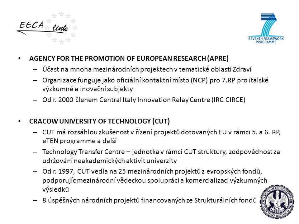 AGENCY FOR THE PROMOTION OF EUROPEAN RESEARCH (APRE) – Účast na mnoha mezinárodních projektech v tematické oblasti Zdraví – Organizace funguje jako oficiální kontaktní místo (NCP) pro 7.RP pro italské výzkumné a inovační subjekty – Od r.