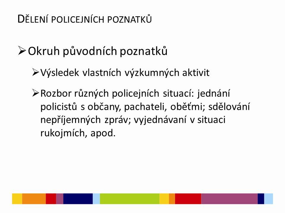  Okruh původních poznatků  Výsledek vlastních výzkumných aktivit  Rozbor různých policejních situací: jednání policistů s občany, pachateli, oběťmi; sdělování nepříjemných zpráv; vyjednávaní v situaci rukojmích, apod.